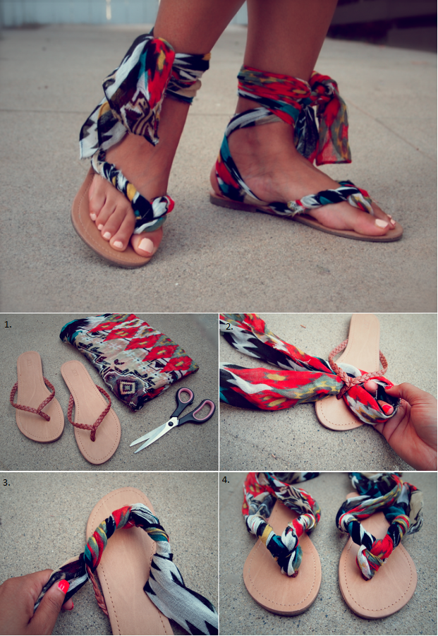 d64697db5039 How to Turn Flip-Flops into Gladiator Sandals - DIY - AllDayChic