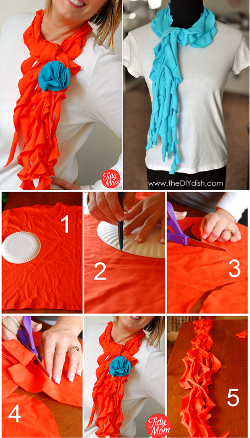 trendy ruffled scarves out of old t-shirts - diy