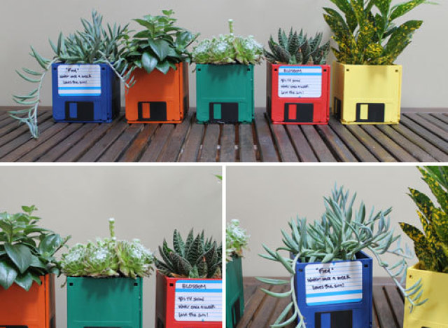 Planters from Floppy Disks