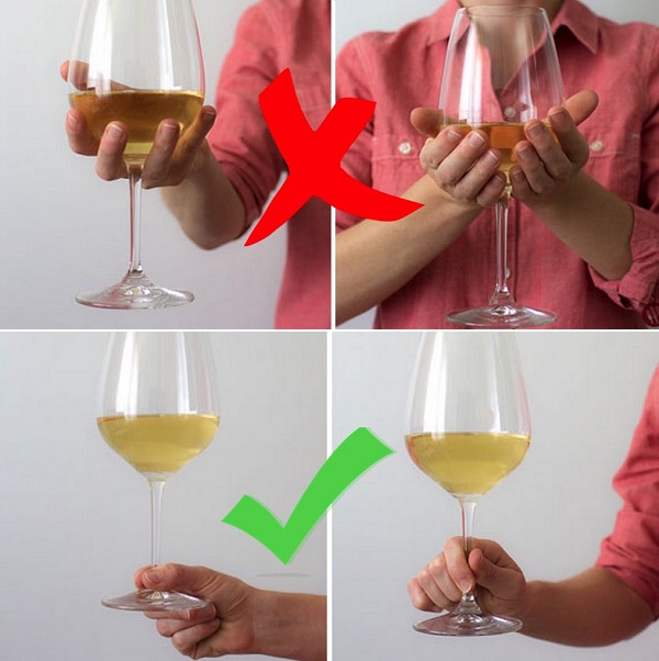 The right way to hold a wine glass