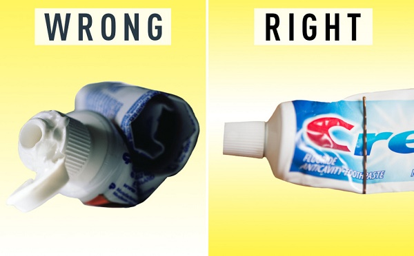 The right way to squeeze out toothpaste
