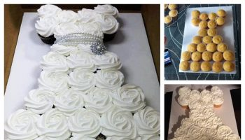 Awesome Idea for a Wedding Dress Cupcake Cake