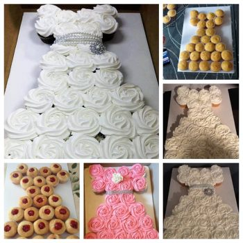 Awesome Idea for a Wedding Dress Cupcake Cake