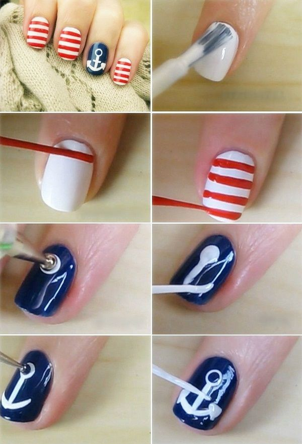 Nautical Nail Art Tutorial - DIY (2) - Nautical Nail Art Tutorial - DIY - AllDayChic