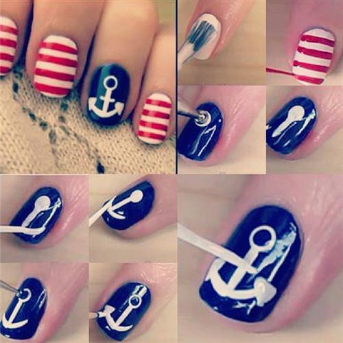 Nautical nail art tutorial diy alldaychic prinsesfo Gallery