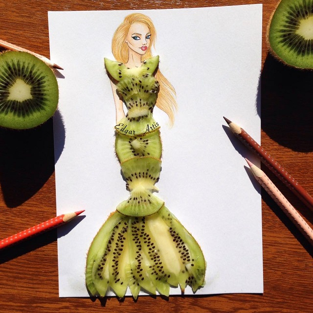 dress made of kiwi
