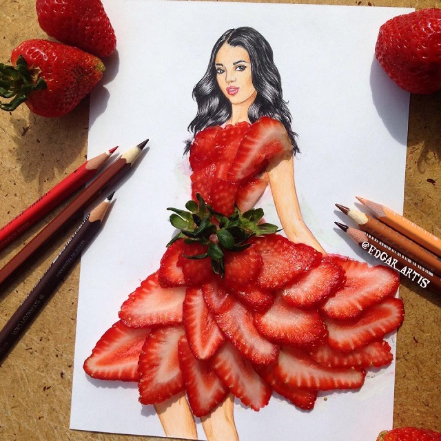dress made of strawberries
