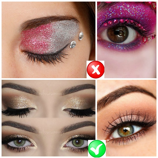 Glittery eyeshadow mistakes
