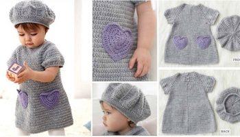 Little Crochet Dress with Heart Pockets – DIY