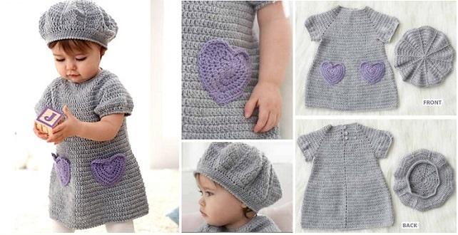 Little Crochet Dress With Heart Pockets Diy Alldaychic