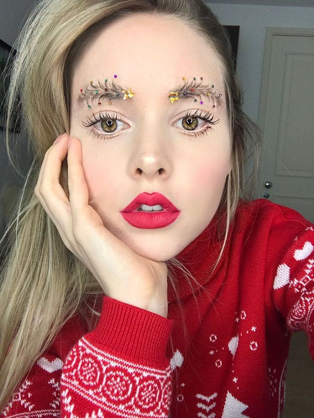 Extravagant Christmas Makeup Trend The Christmas Tree Brows